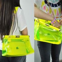 Fluorescence Transparent Shoulder Bag