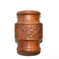 Hand Carved Wooden Pot Wooden Container Wooden Cup Made in India