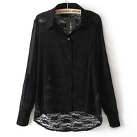 Chiffon Shirt with Sexy Lace on the Back