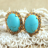 Turquoise Crystal stud oval earring - 14k plated gold post earrings gemstone with real swarovski rhinestones .