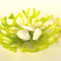 Lime Green Sm. Sea Coral Art Glass Bowl by Uneek Glass Fusions