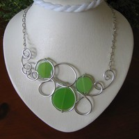 Lime green aluminium wire modern necklace