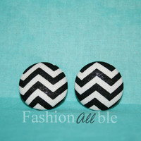Black and white chevron stud earrings