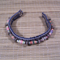 Upcycled Denim Beaded Bracelet / Anklet  by TwoSisters2Sis on Etsy