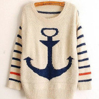 Military style anchor mohair sweet stripes bat shirt sweater