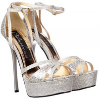 Onlineshoe Sparkly Glitter Strappy Peep Toe Stiletto Heel - Cross Over Toe - Silver Glitter - Onlineshoe from Onlineshoe UK