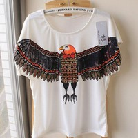 lovely cartoon feiying cotton t shirt with short sleeves