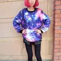 Star of the universe tie-dye marine gradient loose pullover  from allchaming