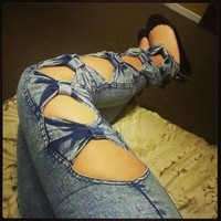 Nice bowknot sexy Jeans