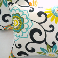 Designer Pillow Cover  Orange turquoise and yellow  by MicaBlue