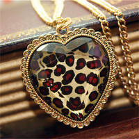 Fashion Leopard heart necklace