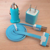 USB Cord 1PCS USB Power Adapter Wall Charger 1Pcs Car Charger For Iphone 4/4s/5