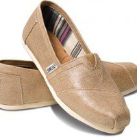 Champagne Metallic Linen Women&#x27;s Classics | TOMS.com