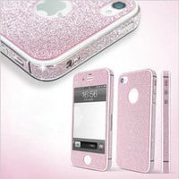 waloli shopping mall  Pink Shiny Rhinestone Full Body Cover Skin Sticker Shield For IPhone4/4s/5