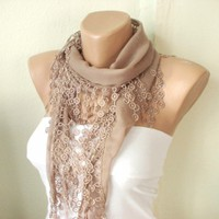 Beige Cotton Scarf with Lace