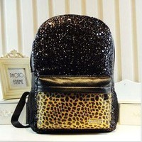 waloli shopping mall — Cool Shiny Sparking Leopard Backpack Bag