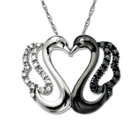 1/8 CT. T.W. Enhanced Black and White Diamond Kissing Swans Pendant in 10K White Gold - View All Necklaces - Zales