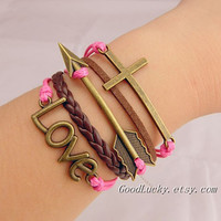 Ancient bronze Cross braceletarrow braceletLOVE by goodlucky