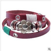 Wrap Bracelet, Lovely Metal Flower Leather Woven Bracelet, Women Leather Jewelry Bangle Cuff Bracelet  RZ0252