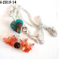 Turquoise Heart Necklace Iridescent Peach Beads Silver Plated Chain