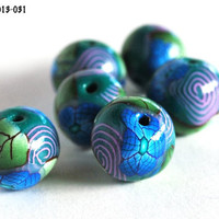 Blue and Purple Flower Round Green Beads Polymer Clay Handmade Swirls