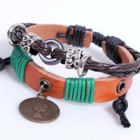 Women leather bracelet Punk Style, Brown Leather bracelet Charm Bracelet  high quality bracelet  RZ0250