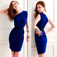 Womens Charming Sleeveless Pleated One Shoulder Blue Cocktail Mini Dresses New