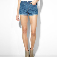 High Rise Shorts - Indigo Block Print