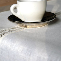 White Linen Table Runner With Lace by LinenLifeIdeas on Etsy