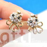 Small Octopus Squid Bow Tie Stud Earrings in Gold with Rhinestone Eyes