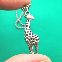Small Giraffe Animal Charm Necklace in Silver