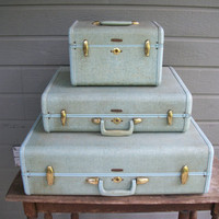 Vintage green luggage samsonite suitcase X 3 by deepsouthtreasures