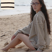 Unisex Stripe Cotton Ottoman Rib Drop-Shoulder Pullover