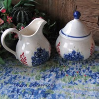 Large Size Ceramic Cream Pitcher Sugar Bowl Set Bluebonnet Wildflowers