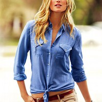 Cotton & Silk Button-down Shirt
