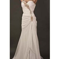 White Chiffon One Shoulder Sweetheart Wedding Gown-Destination Wedding Dresses