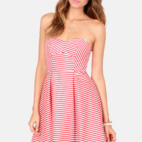 Boardwalk the Line Red and White Striped Dress