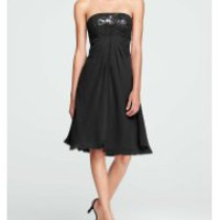 Short Strapless Dress with Sequin Bodice