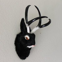 Black Jackalope Head Mount Rabbit with Antlers Furry Animal Figurine Cabin Decor