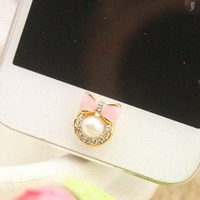Amazon.com: Brilliant Pearl Bow Tie Iphone Home Return Keys Buttons Sticker For iPhone 4S iPhone 5 iPod Touch iPad Repair Fix Replace Replacement?Blue or Pink): Cell Phones &amp; Accessories