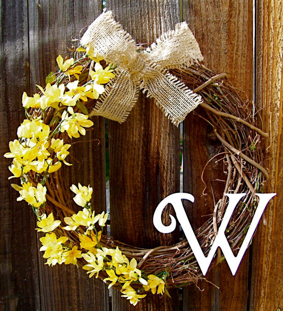 Personalized 18 wreath front door from warnerdecor on etsy for 3 wreath door decoration
