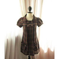 Spring Classic Checkered Plaid Pumpkin Brown Winter Sweet Cottage Romance Holiday Voyage Comfy Pockets Collar Shirt Dress