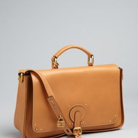 Chloe caramel leather briefcase style crossbody bag | BLUEFLY up to 70 off designer brands