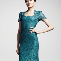 Dolce & Gabbana Floral-Lace Short-Sleeve Dress