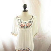 White Bohemian Lotus Hippie Gypsy Spanish Seville Exotic Mexican Embroidered Indie Morrocan Moorish Spring Motif Cotton Kaftan Tunic Dress