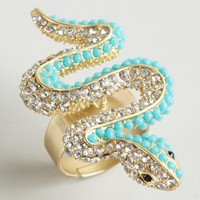 Kenneth Jay Lane turquoise and crystal snake ring | BLUEFLY up to 70 off designer brands
