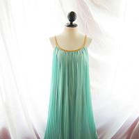 Mermaid Tears Seafoam Blue Minty Green Breakfast at Tiffanys Grecian Gold Braided Rope Egyptian Bohemian Cleopatra Long Maxi Pleated Dress