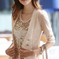 BEIGE SHORT SLEEVED DOUBLE BREASTED JACKET WITH LACE FRONT