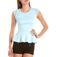 Studded Cap Sleeve Peplum Top: Charlotte Russe