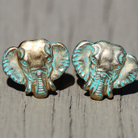 Elephant Stud Earrings : Patina Finished Safari Earrings, Brass, Zoo, Cute, Summer, Fun, Artisan Tree, Unique, 10mm
